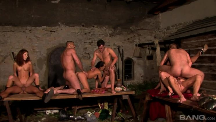 Three tavern wenches get gangbanged in tavern wide orgy by Knights