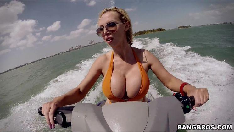 Big Tits Blonde Rides Waves and Cock at Beach!