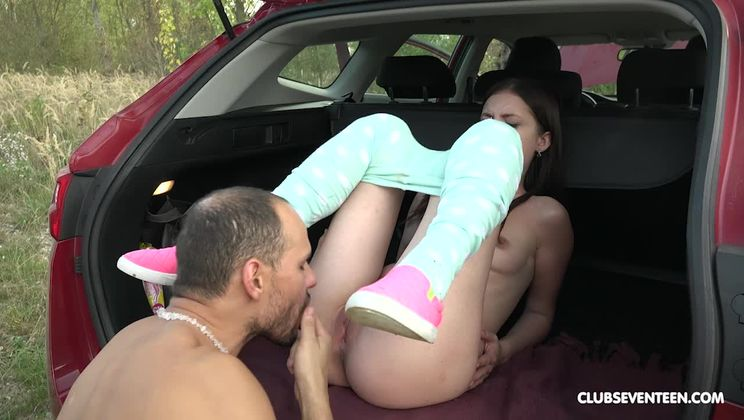 Teen fucked in the trunk of a car