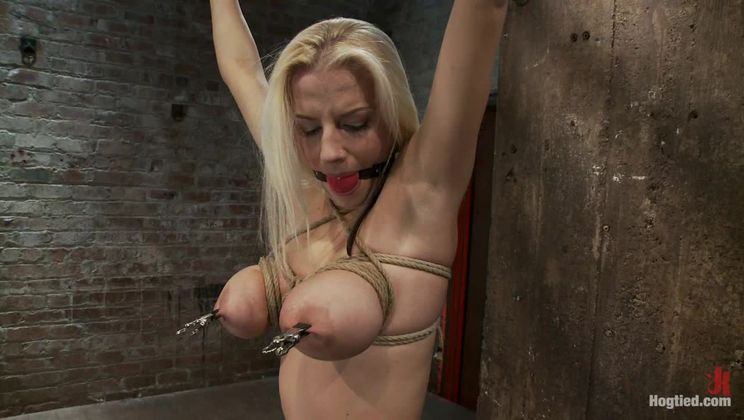 """Hot 19yr Blond with huge natural """"F"""" breastsThis is her first ever hardcore bondage shoot."""